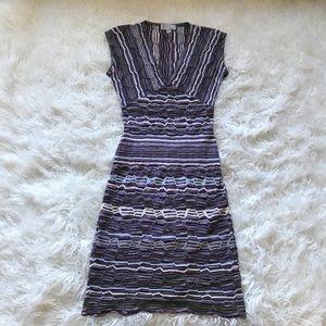 MISSONI V-NECK SHEATH BODYCON TEXTURED DRESS